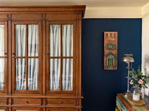 DIY Glass Cabinet Fabric Panels