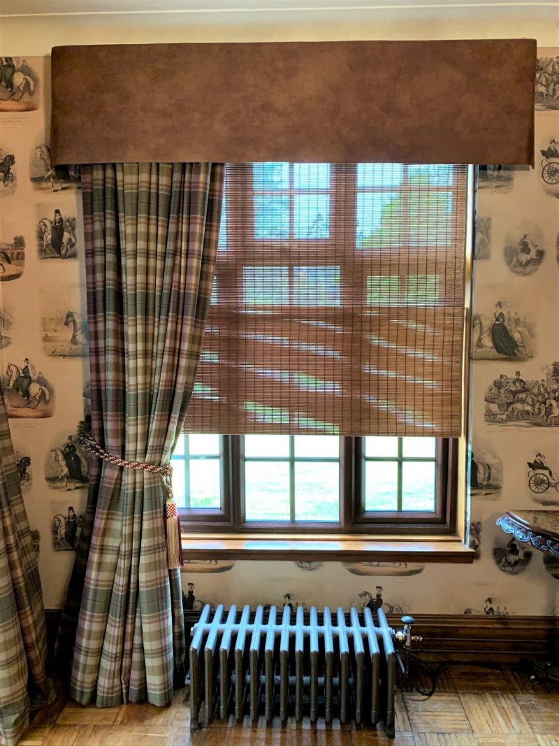 tartan curtains with suede pelmet