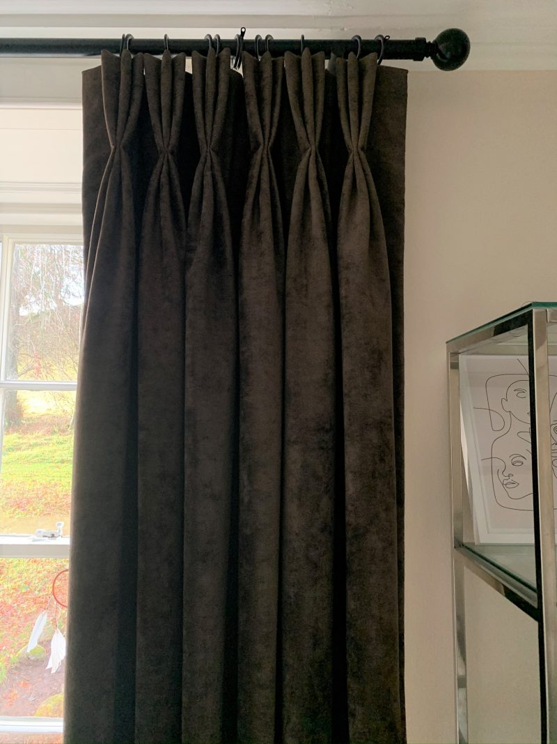 triple pleat velvet curtains